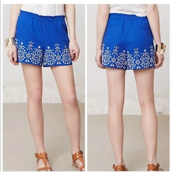 Anthropologie Pants - ANTHROPOLOGIE MERMAID EMBROIDERED LINEN SHORTS